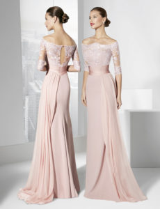 vestido de novia rosa claro
