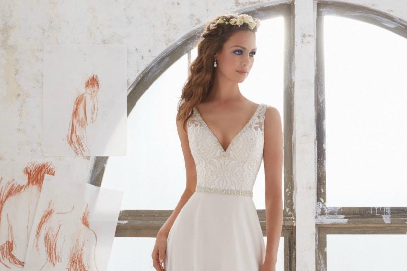 vestido de novia secillo encaje