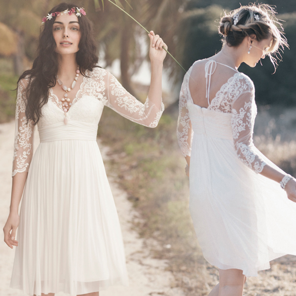 Vestidos de novia cortos hippie chic