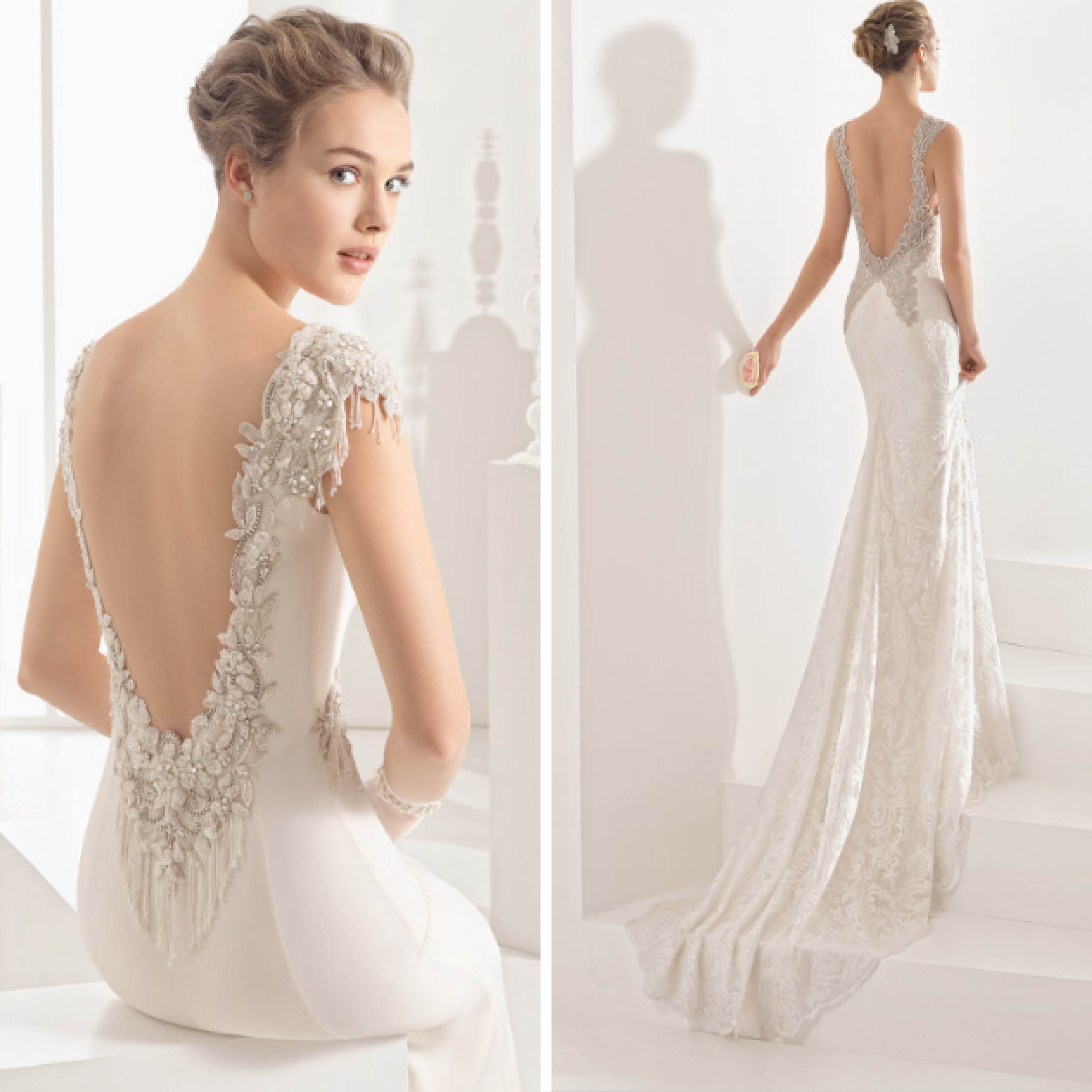 vestidos de novia con pedreria corte sirena