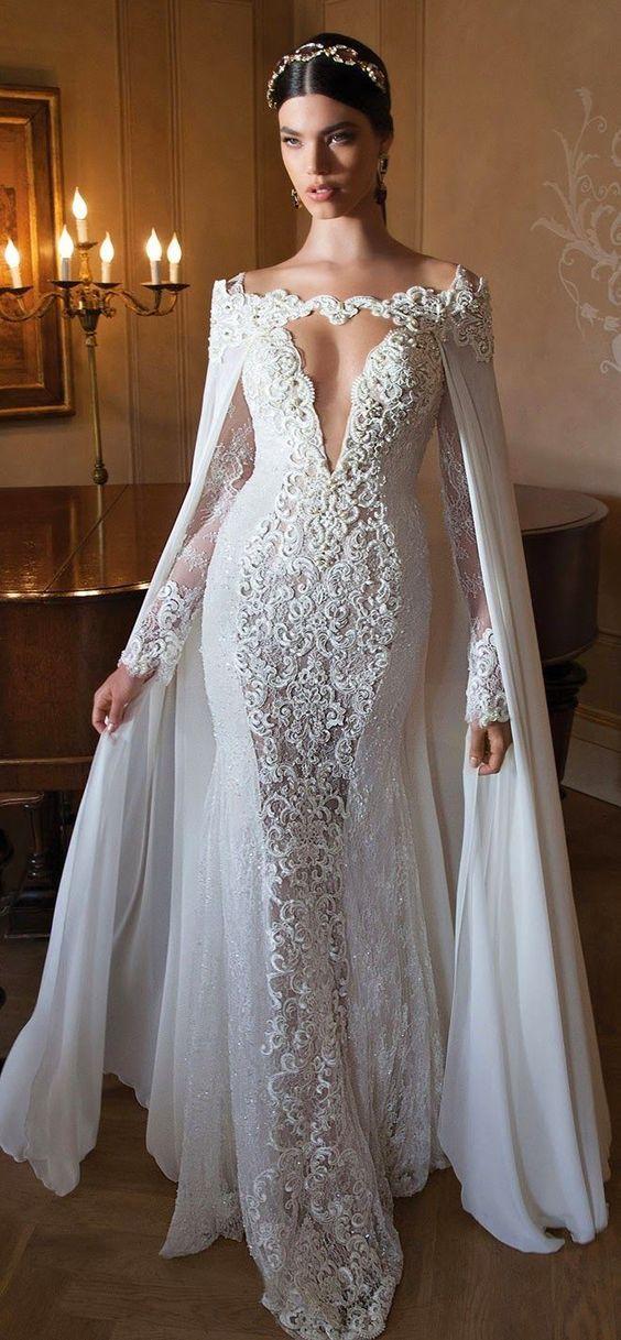 vestidos de novia corte sirena con mangas