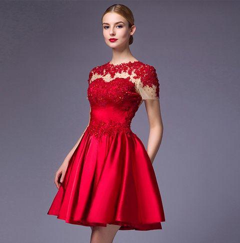 vestidos de novia cortos y rojos