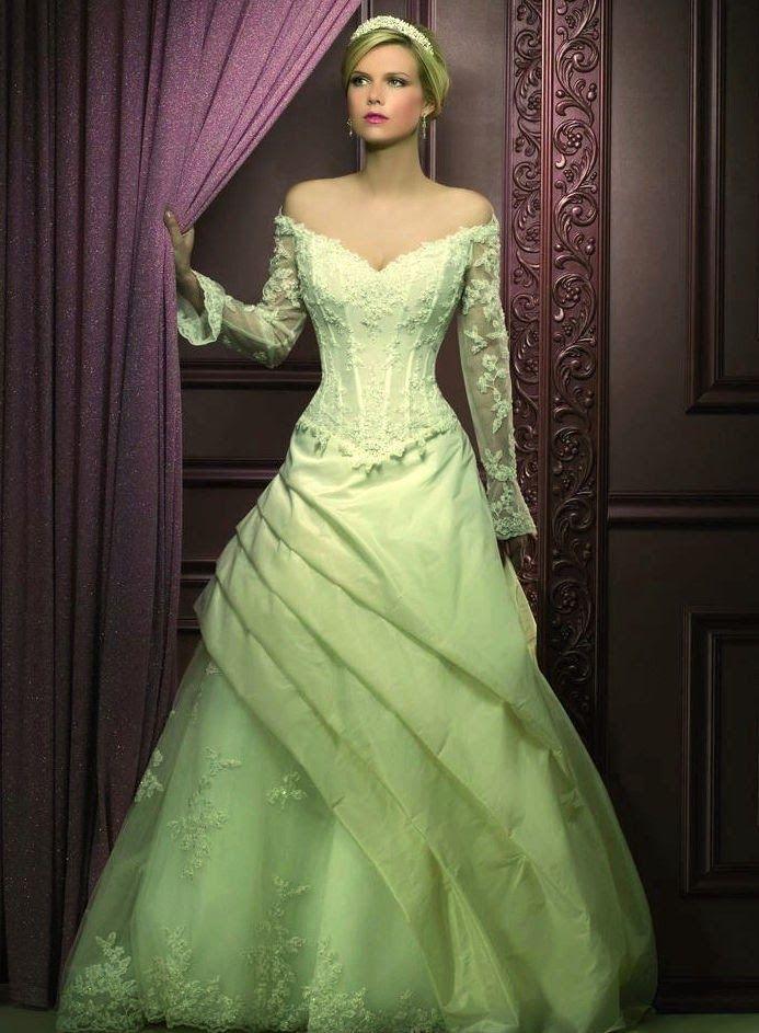 vestido de novia de color verde