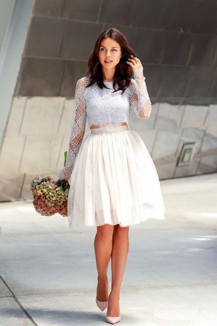 vestidos de novia invierno crop top