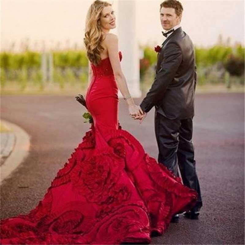 vestidos de novia rojos imagenes