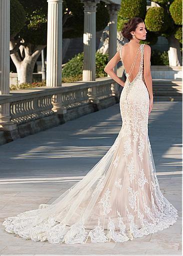 vestidos de novia sirena con escote